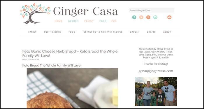 Website screenshot from Ginger Casa