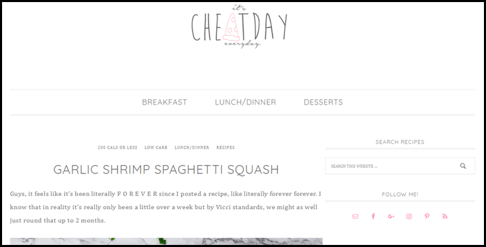 Website screenshot from It's Cheat Day Everyday