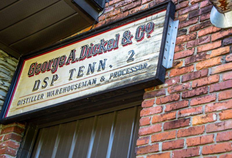 George Dickel distillery label on a brick wall