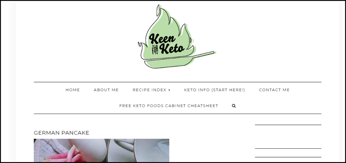 Website screenshot from Keen for Keto