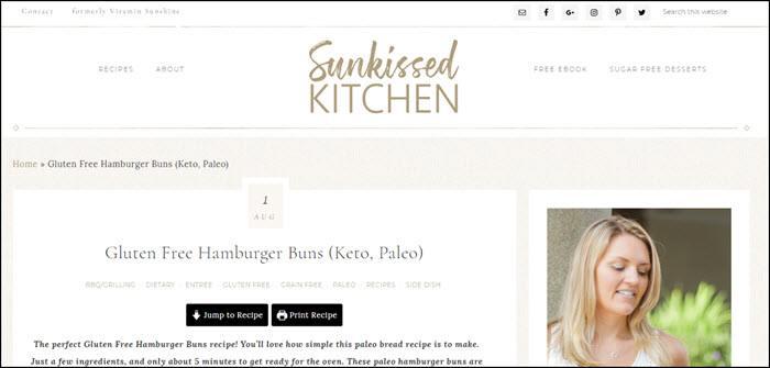 Website screenshot from Sunkissed Kitchen