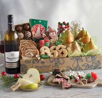 Cardboard box with truffles, pears, cookies and more