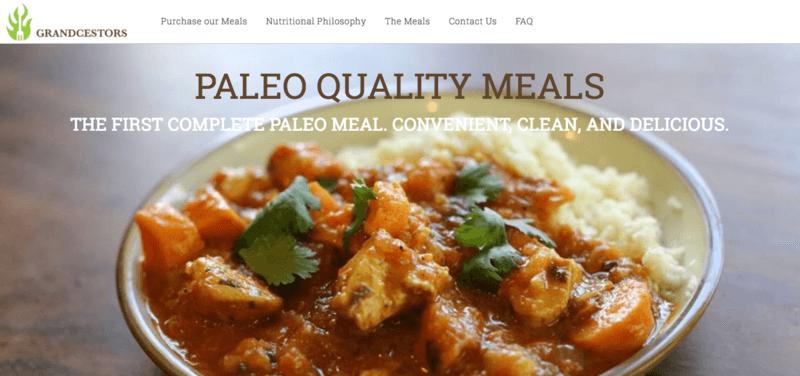 Grandcestors website screenshot showing chicken tikka masala