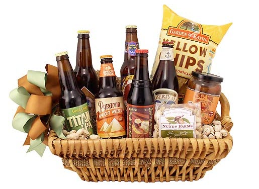 6 different craft beers and various snacks in a basket.