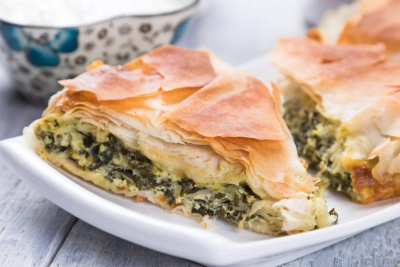 Spanakopita, Greek spinach pie on a white plate