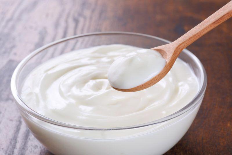 A glass bowl of low fat Greek yogurt with a spoon