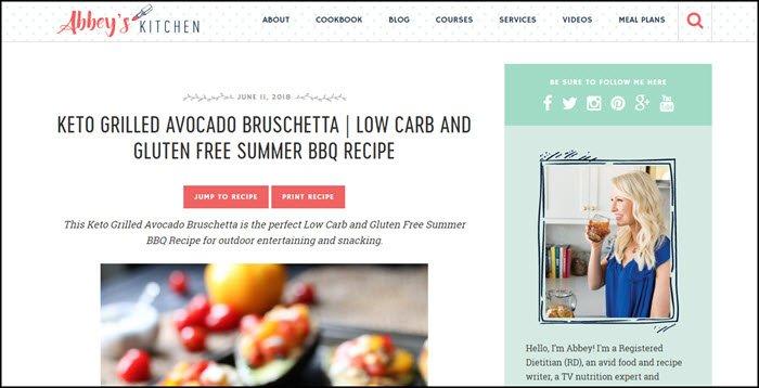 Website screenshot from Abbey's Kitchen