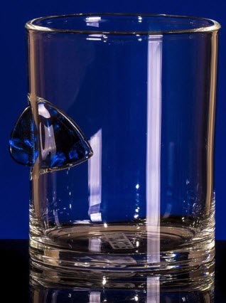 A glass with an embedded pick