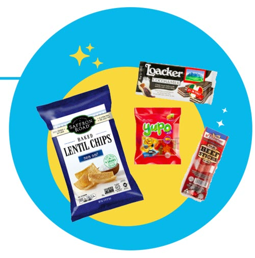 Blue and yellow circles with 4 snack images