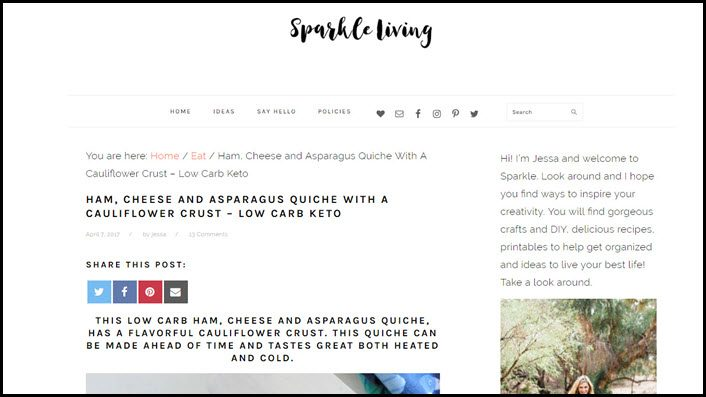 Website screenshot from Sparkle Living.