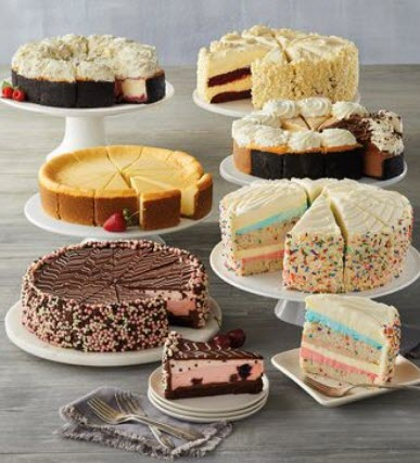 A selection of cheesecakes on plates