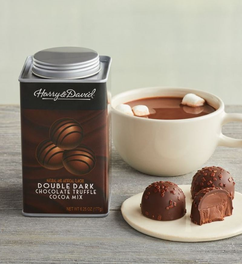 Harry and David canister of double dark chocolate truffle hot cocoa next to the canister is a small plate with two whole and one half truffle and behind that is a white much with hot cocoa and three mini marshmallows floating on top