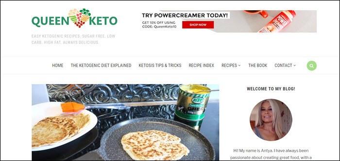 Website screenshot from Queen Keto