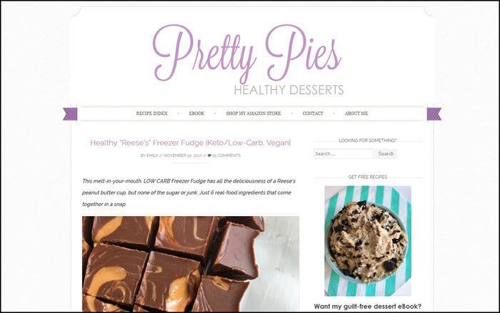Website screenshot from Pretty Pies