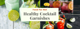 Three sets of cocktails with healthy garnishes, including avocado, celery, and herbs