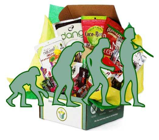 A green box with goodies and images of a paleo man