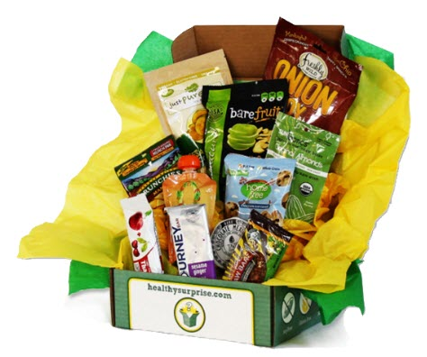 Healthy Surprise box with green and yellow paper