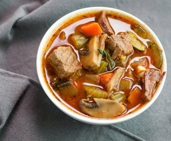 Keto stew in a white bowl
