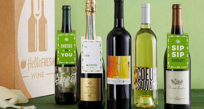 A selection of 5 bottles of wine and a HelloFresh wine box