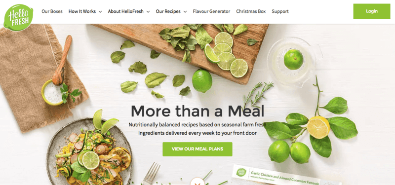 Hello Fresh Website Screenshot showing a chicken meal on a white background with various limes and related ingredients.
