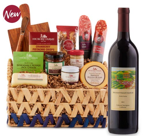 A basket that contains many snacks and a cutting board