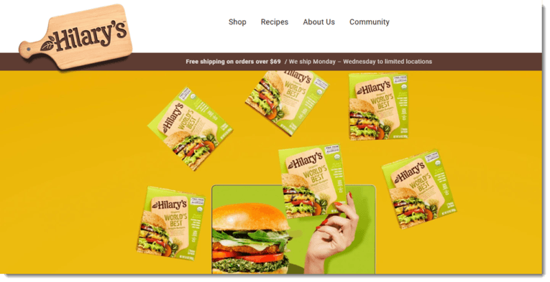 A website screenshot from the Hilary's site showing their veggie burger patties
