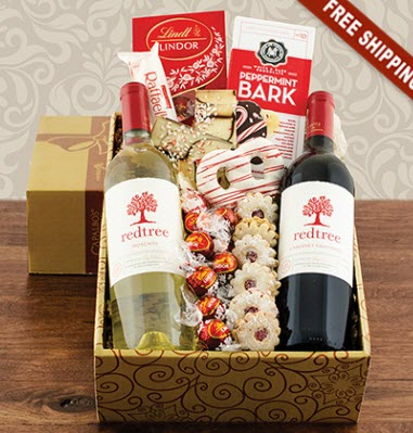 Gold and brown box with Christmas treats in red and white.