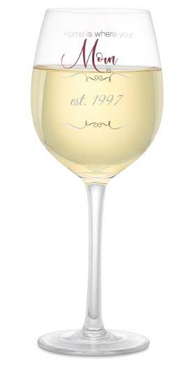A white wine glass that says Home is Where Your Mom Is