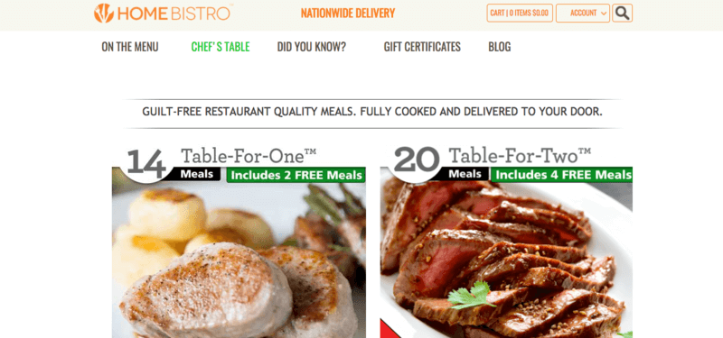home bistro website screenshot showing a chicken and a beef meal