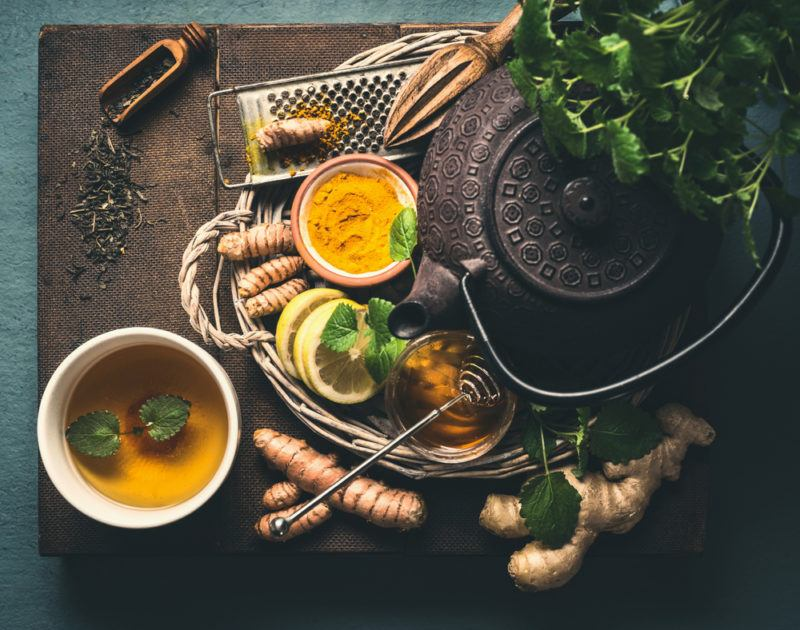Various spices and honey to make hot drinks