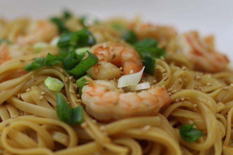 sesame shrimp fetuccini closeup