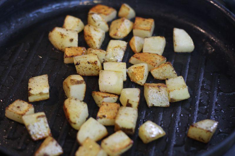 potatoes cooking pan
