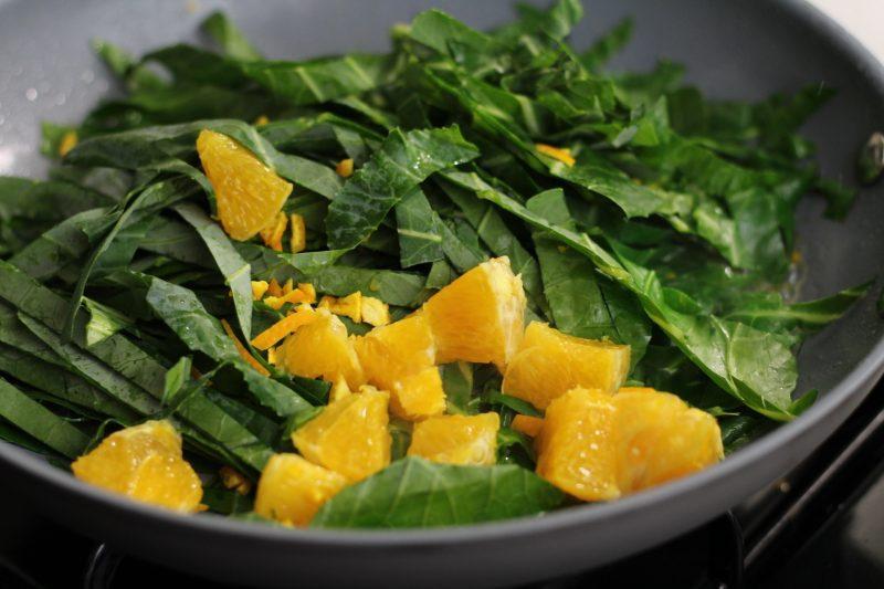 orange collard greens roasting