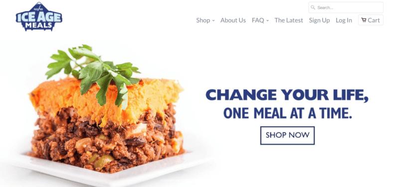 Ice Age Meals Website Screenshot showing a paleo shepherd's pie
