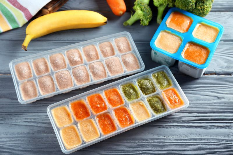 Ice cube trays with smoothie ingredients