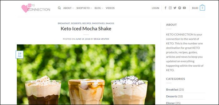 Website screenshot from Keto Connection
