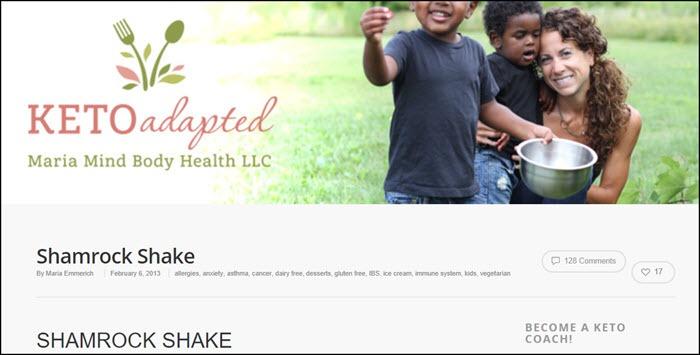 Website screenshot from Keto Adapted