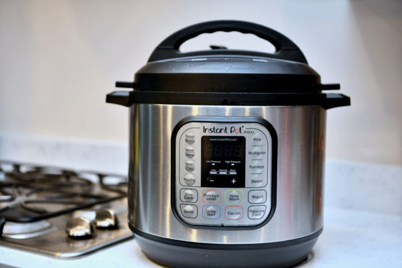 An INstant Pot on a stovetop