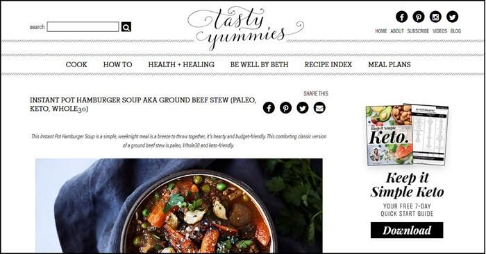 Website screenshot from Tasty Yummies