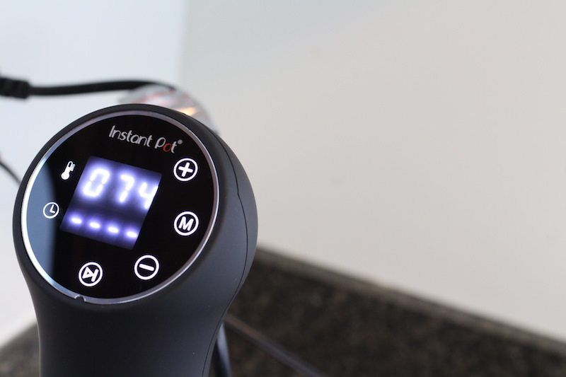 detailed focus on Instant Pot Accu Sous Vide Immersion Circulator face at 74 degrees