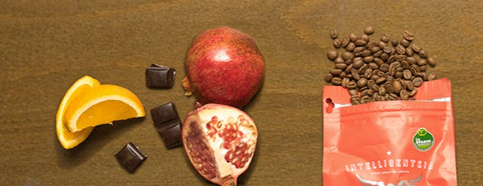 Coffee in a bag, fruit and chocolate