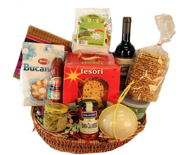 Squat basket with cake, cheese and wine