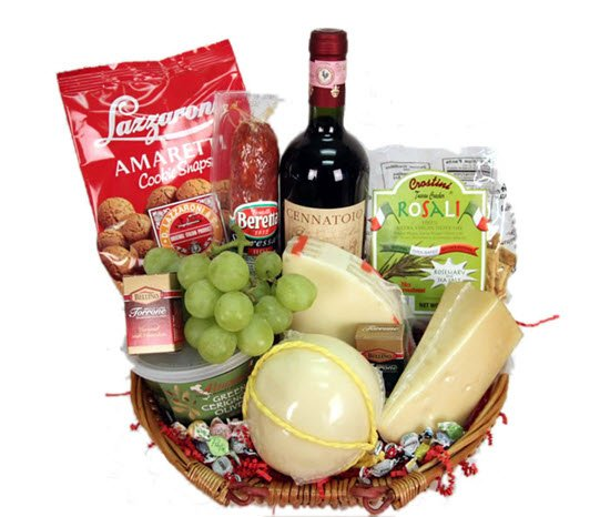 Basket with cheese, grapes and cookies