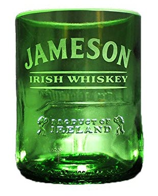 Whiskey glass made from a Jameson Irish Whiskey bottle