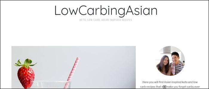 Website screenshot from Low Carbing Asian
