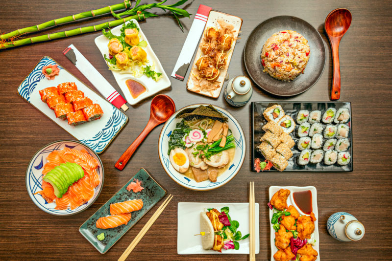 A selection of Japanese foods on a table