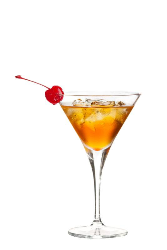 A Jean Harlow cocktail isolated on white