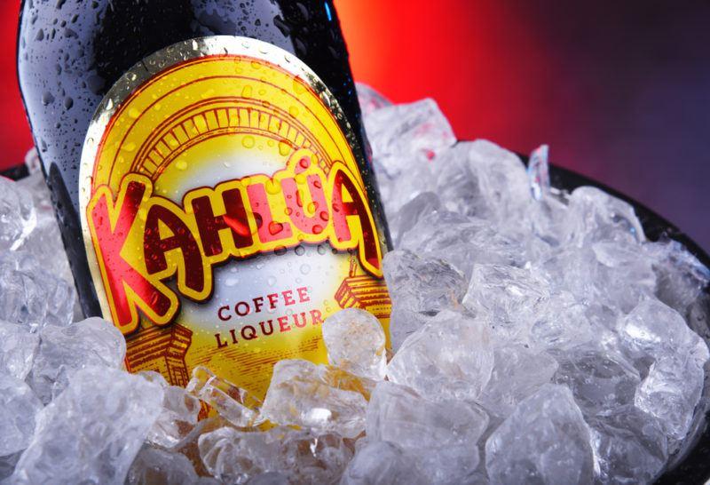 A bottle of Kahlua liqueur on ice