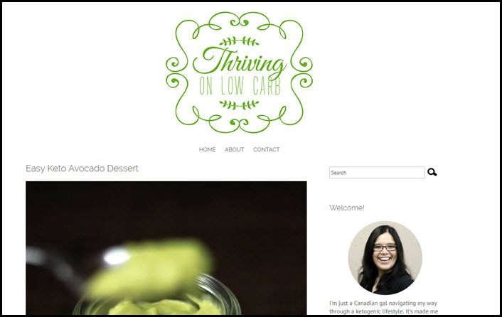 Website screenshot from Thriving on Low Carb