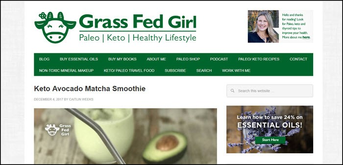 Website screenshot from Grass Fed Girl